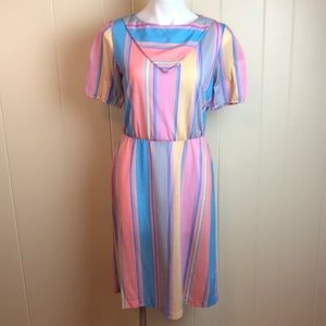 Vintage 70s/80s Pink Blue Striped Knit Disco Dress